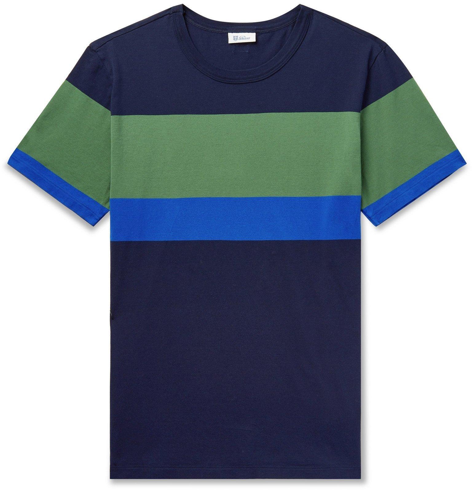 Schiesser - Georg Colour-Block Cotton-Jersey T-Shirt - Blue