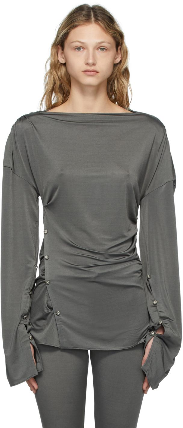 Photo: Acne Studios Grey Satin Long Sleeve T-Shirt