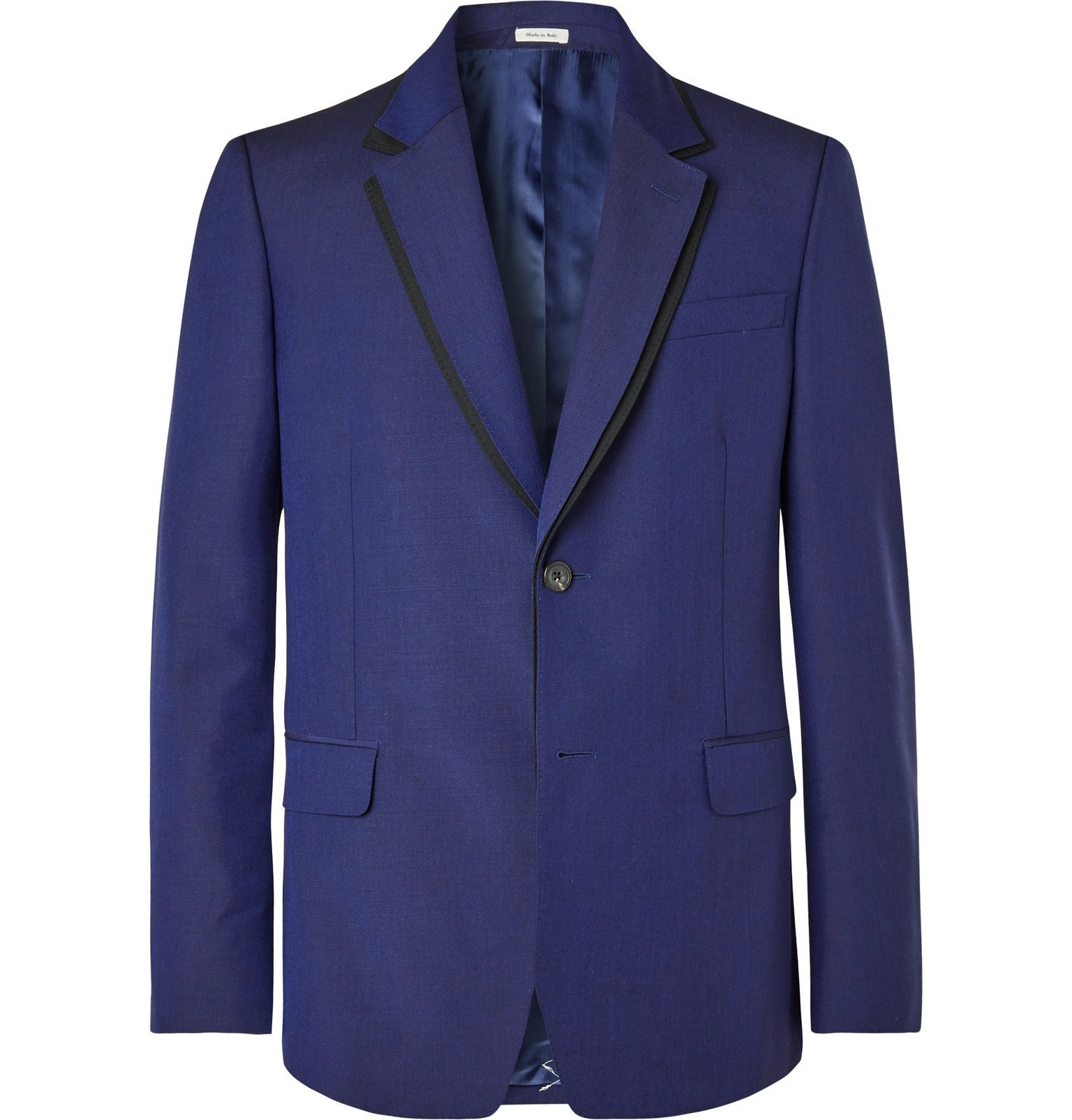 Photo: Alexander McQueen - Pink Slim-Fit Wool and Mohair-Blend Suit Jacket - Blue