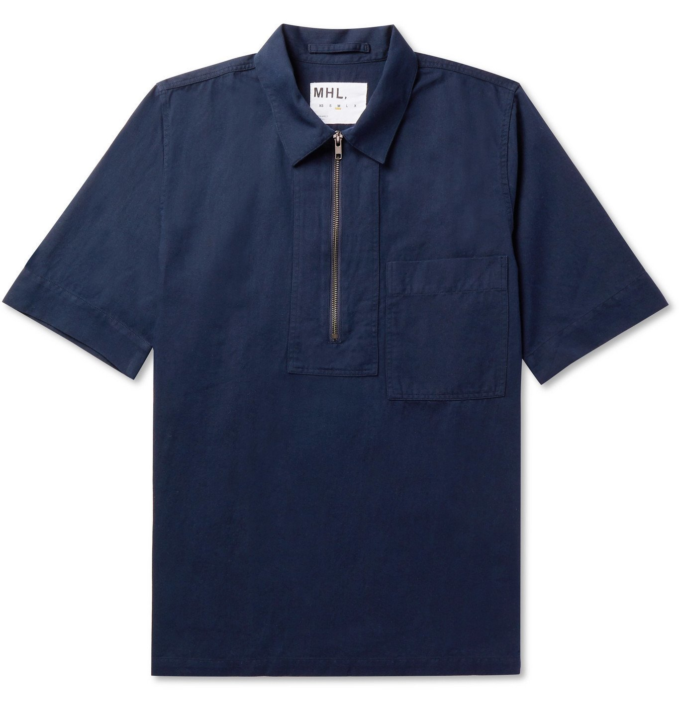 Margaret Howell - Cotton and Linen-Blend Half-Zip Polo Shirt - Blue