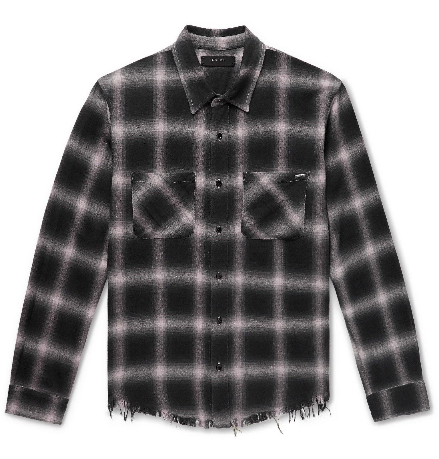 Photo: AMIRI - Checked Cotton-Flannel Shirt - Gray