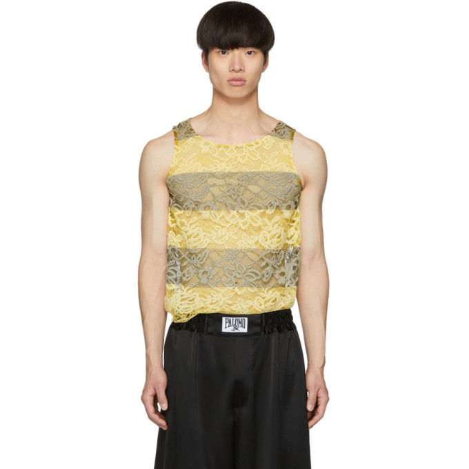 Photo: Palomo Spain SSENSE Exclusive Black and Yellow Lace Tank Top
