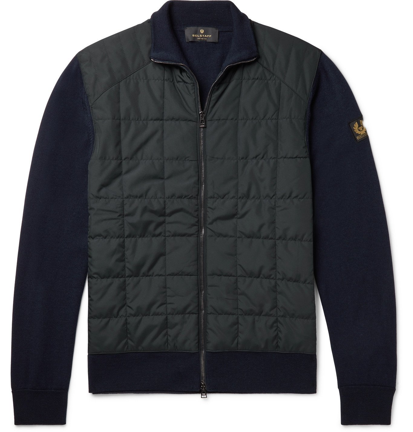 Photo: BELSTAFF - New Kelby Slim-Fit Panelled Wool and Quilted Shell Zip-Up Cardigan - Blue
