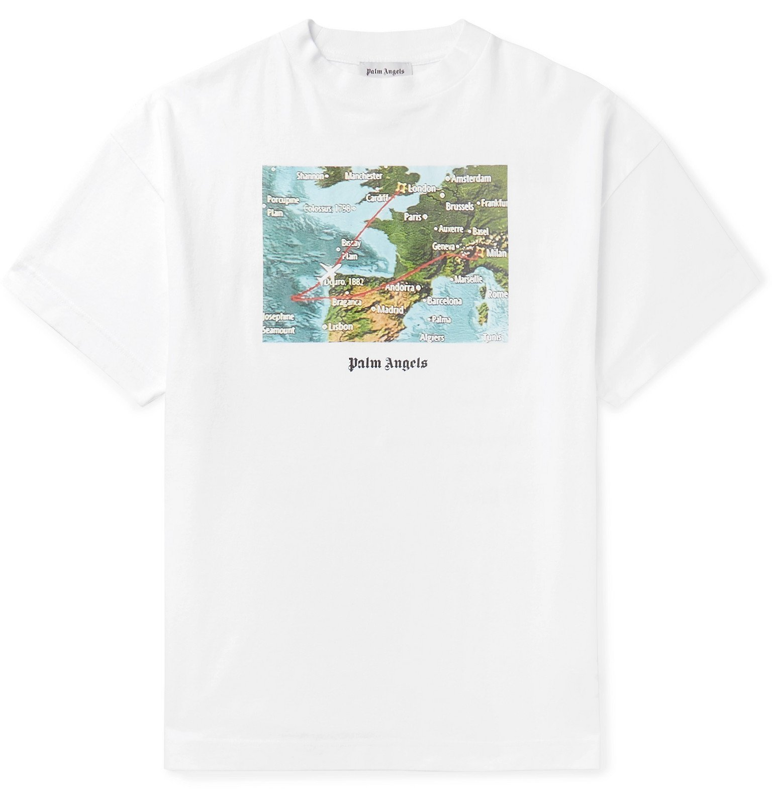 Photo: Palm Angels - Lost Flight Printed Cotton-Jersey T-Shirt - White