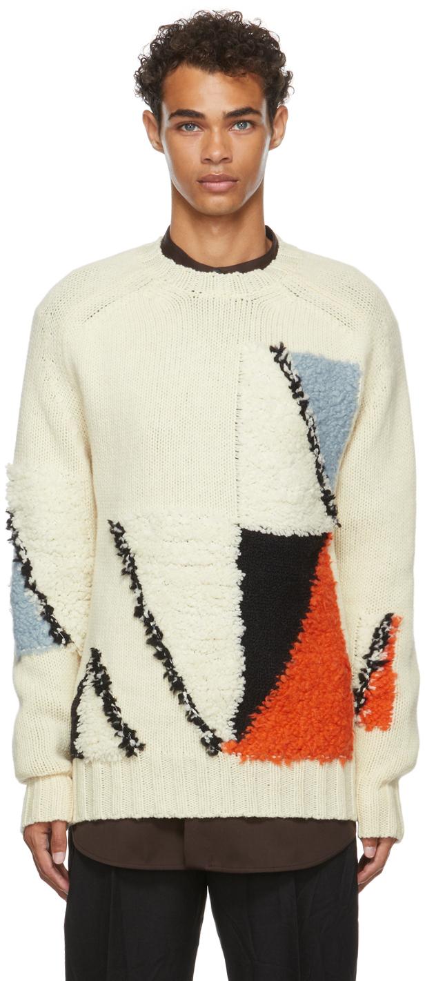Photo: Jil Sander Off-White Wool Jacquard Sweater
