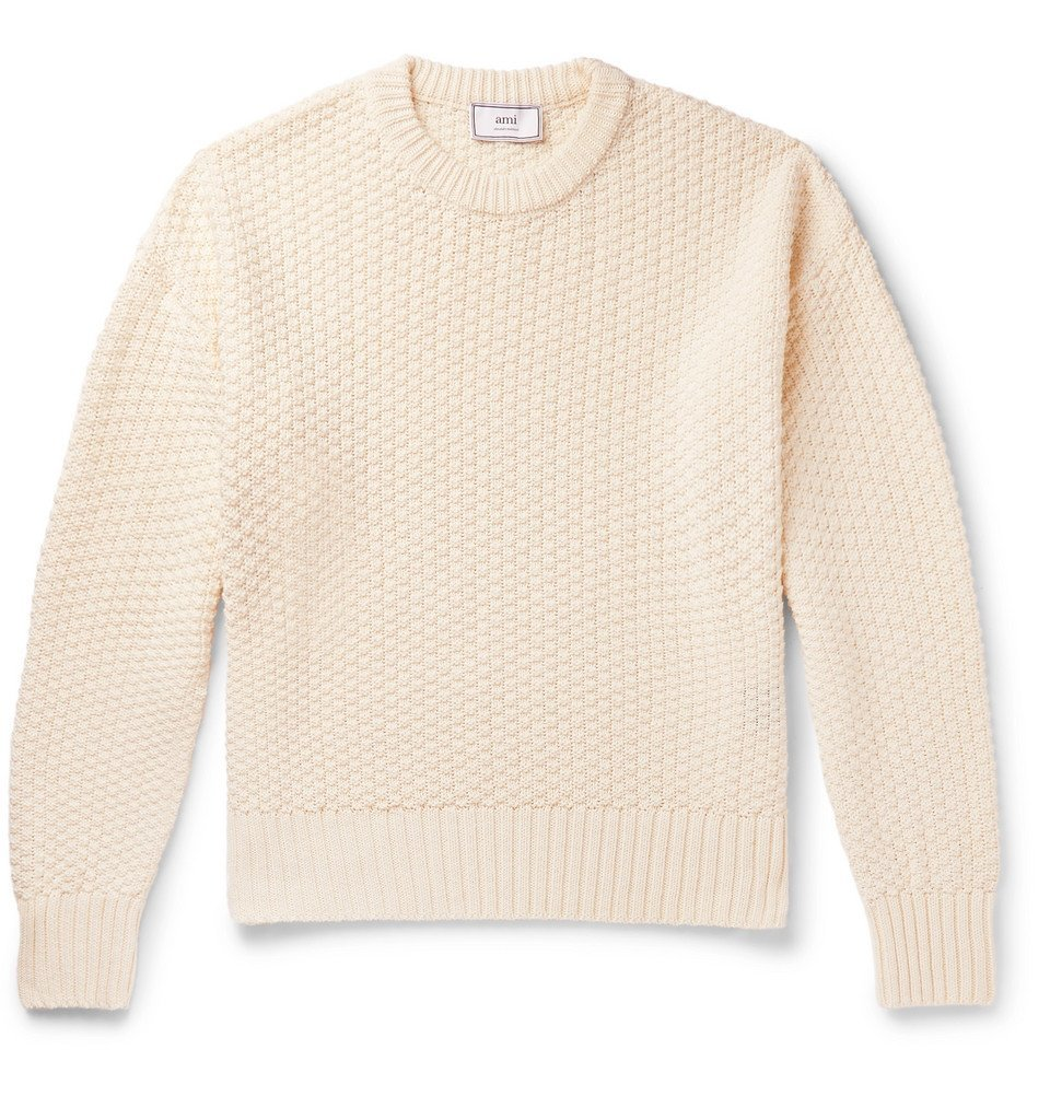 Photo: AMI - Linen and Cotton-Blend Sweater - Cream