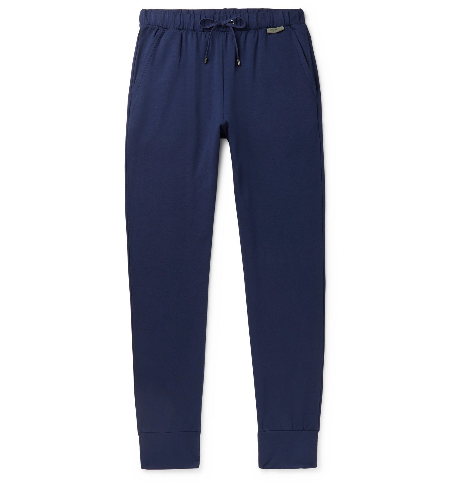 Photo: Zimmerli - Slim-Fit Fleece-Back Stretch-Jersey Sweatpants - Blue