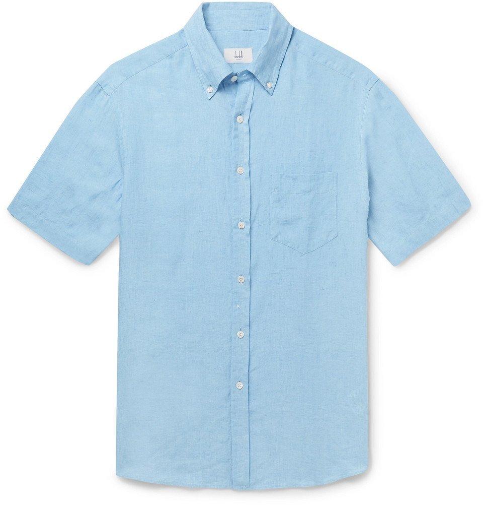 Dunhill - Button-Down Collar Linen Shirt - Light blue