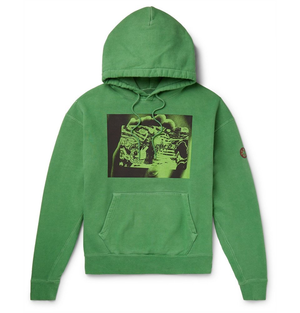 Photo: Cav Empt - Tut Card Printed Loopback Cotton-Jersey Hoodie - Green