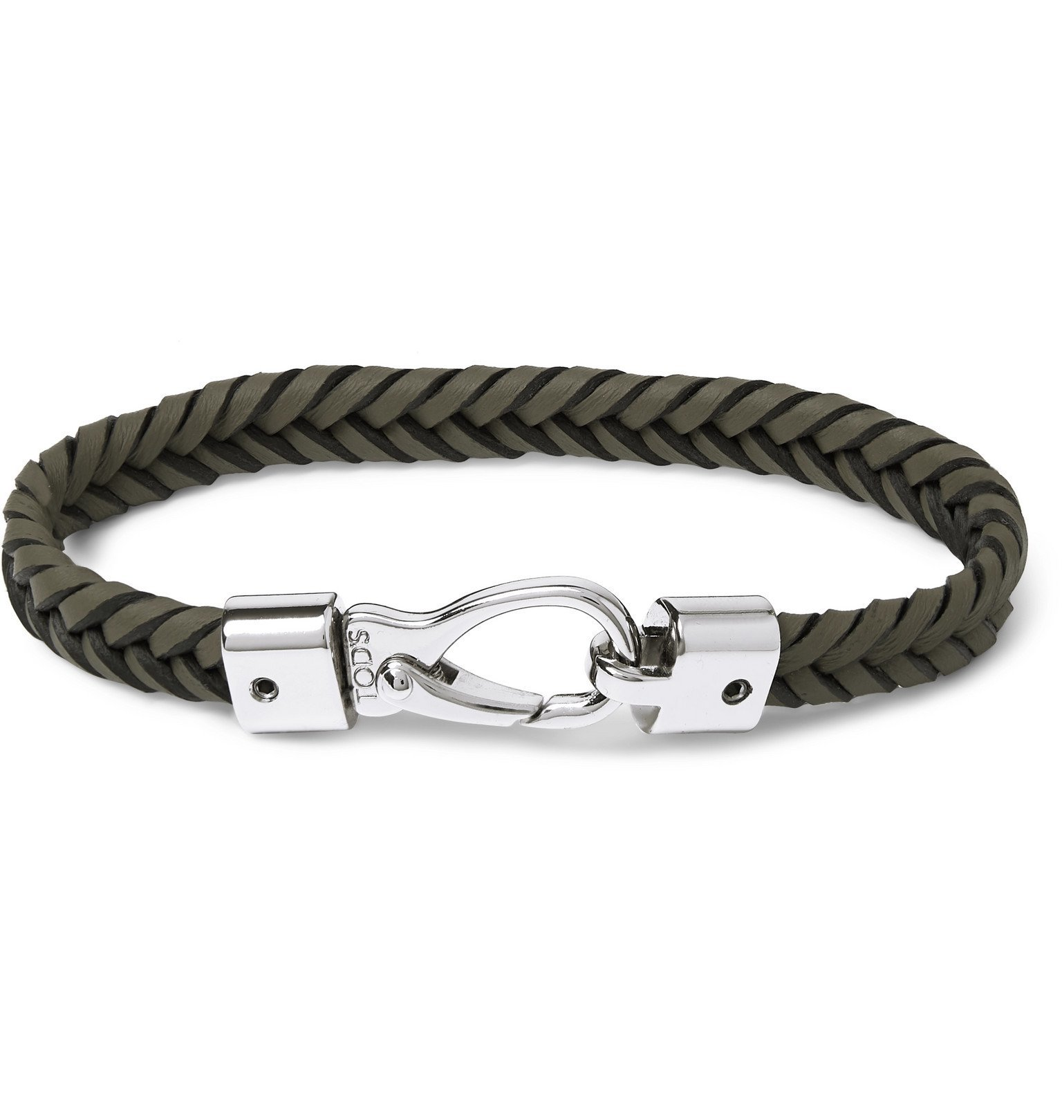 Tod's - Woven Leather and Silver-Tone Bracelet - Green