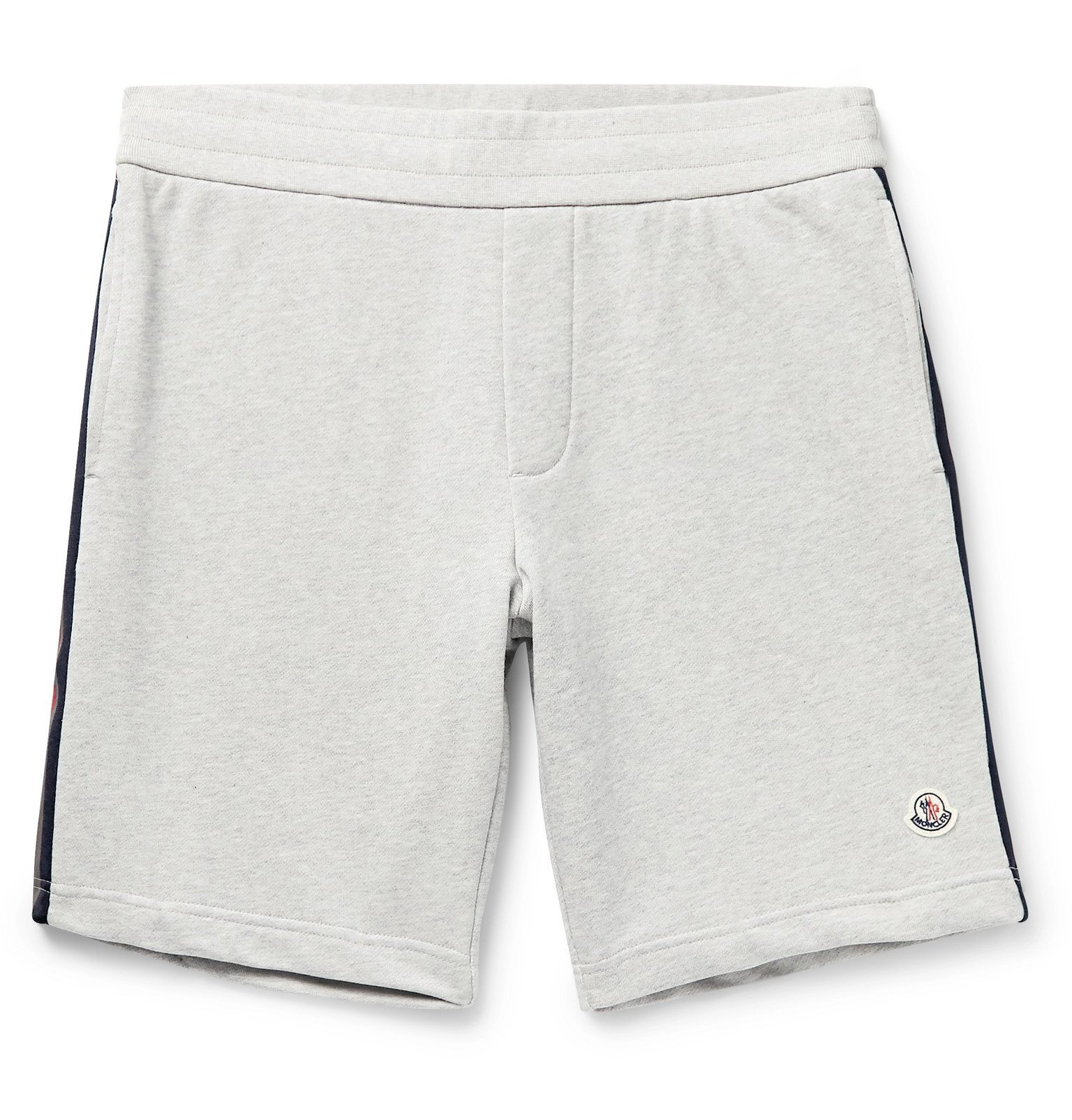 Photo: Moncler - Logo-Appliquéd Webbing-Trimmed Loopback Cotton-Jersey Shorts - Gray