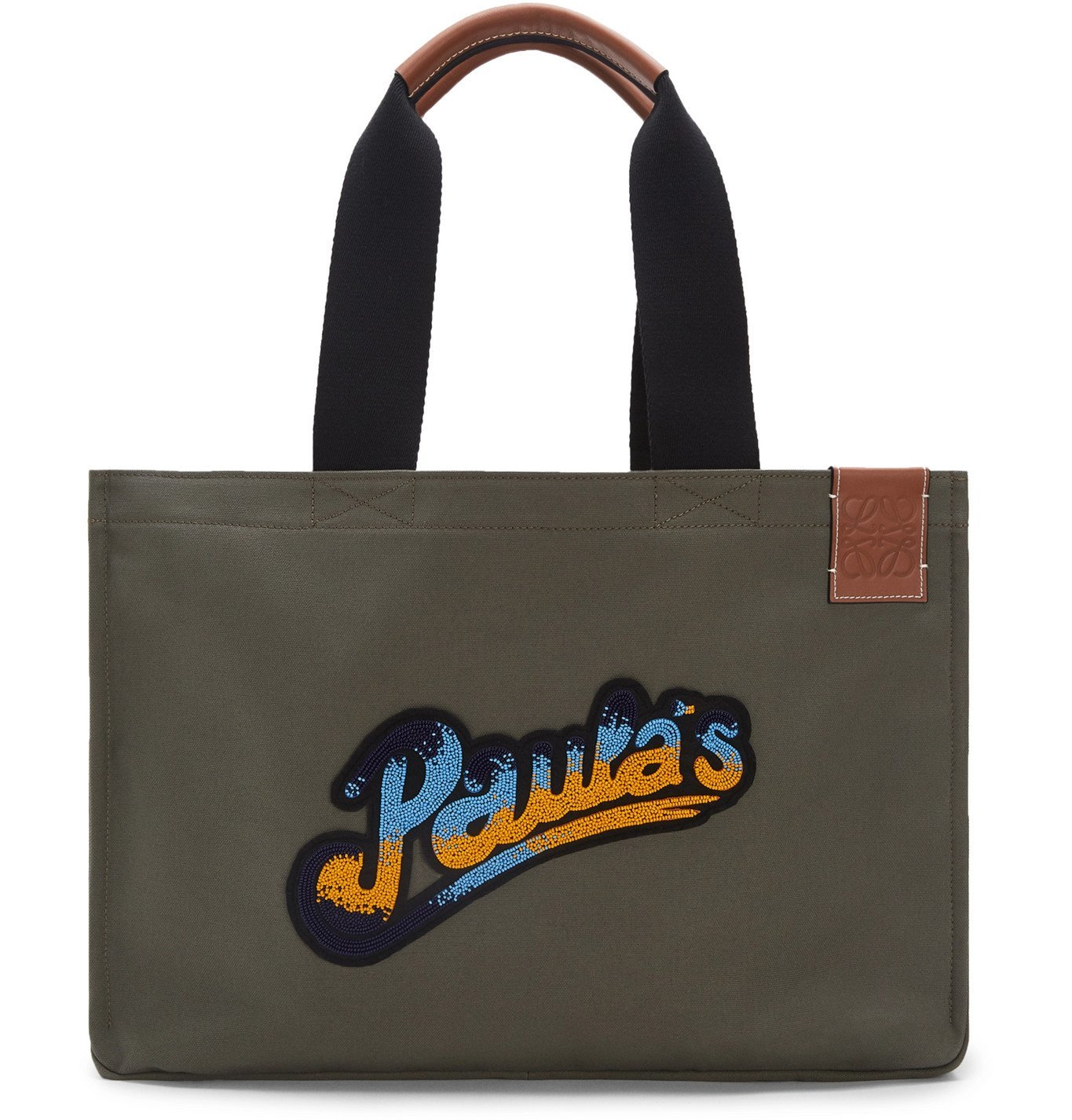 Photo: Loewe - Paula's Ibiza Logo-Appliquéd Leather-Trimmed Canvas Tote Bag - Green