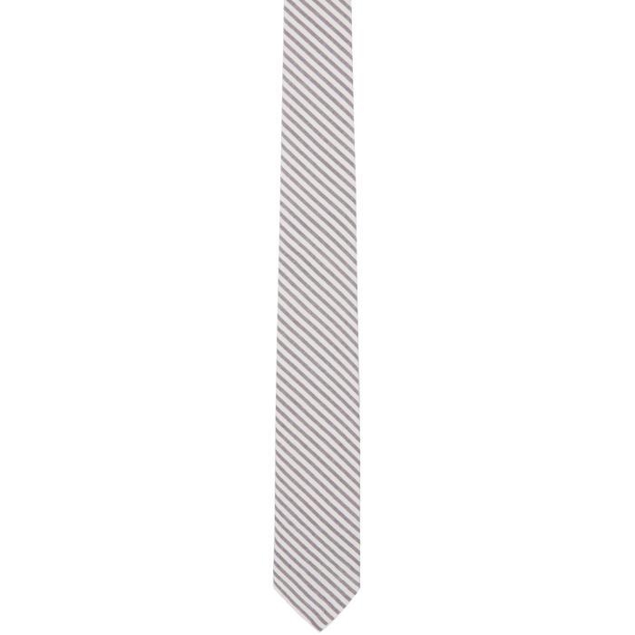 Photo: Thom Browne Grey and White Seersucker Short Tie