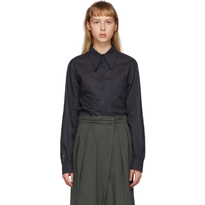 Photo: Lemaire Black Pointed Collar Shirt