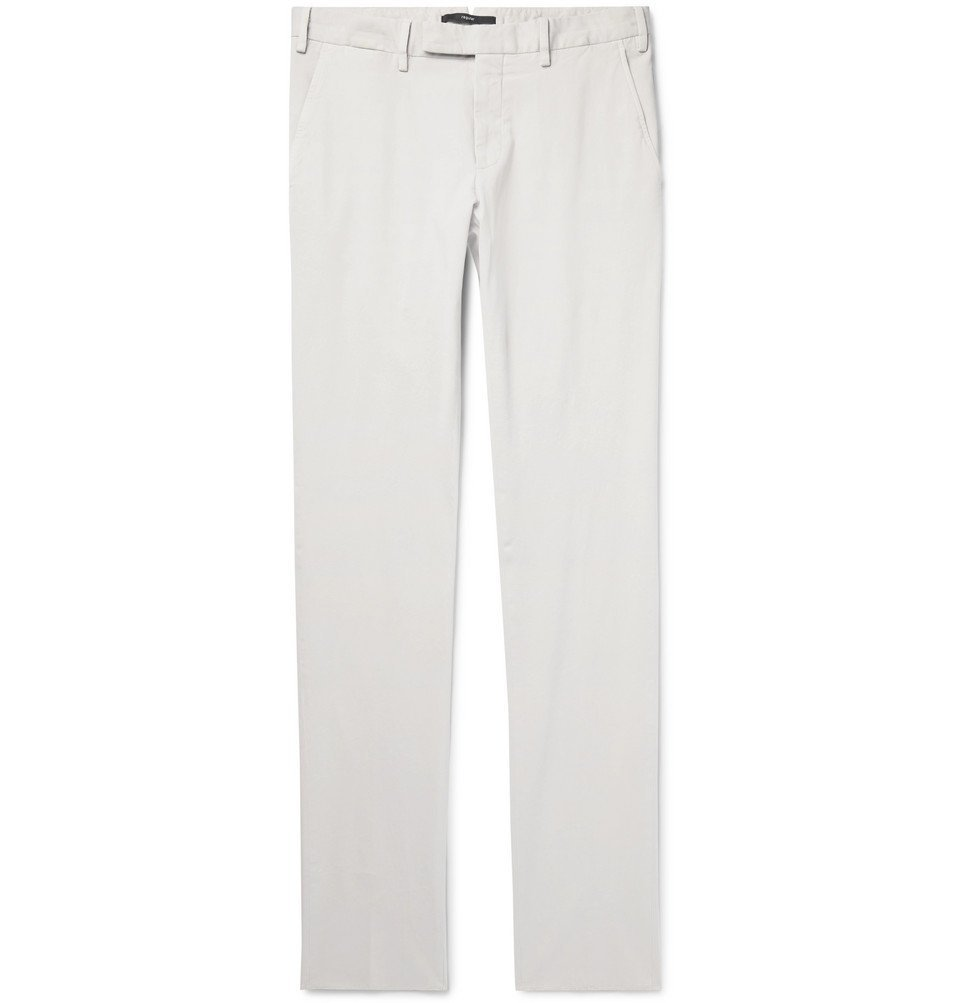 Photo: Ermenegildo Zegna - Slim-Fit Garment-Dyed Stretch-Cotton Twill Chinos - Off-white