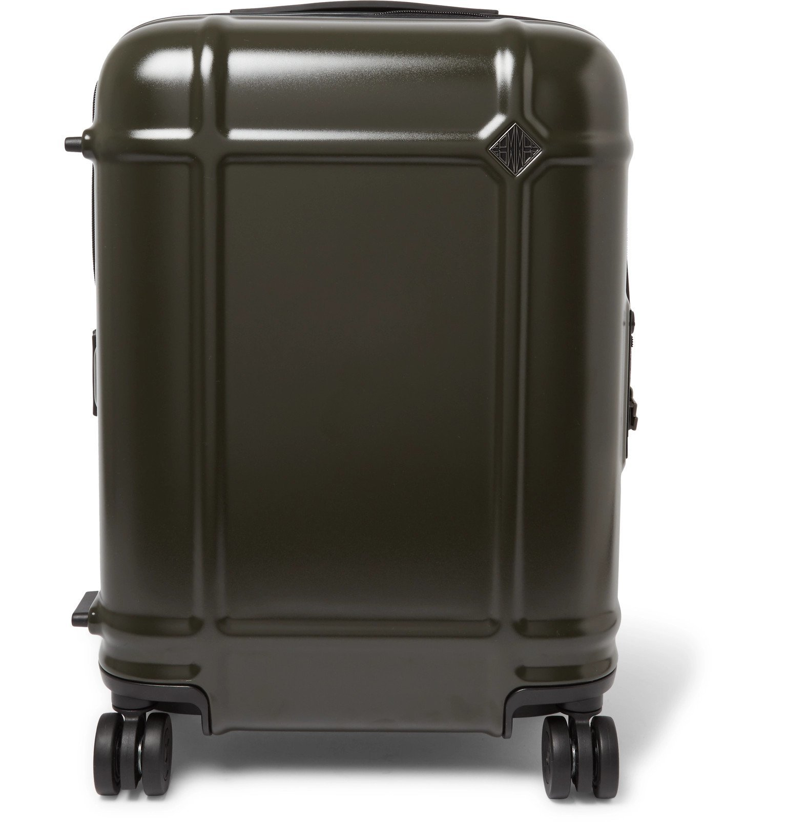 Photo: Fabbrica Pelletterie Milano - Globe Spinner 55cm Leather-Trimmed Polycarbonate Carry-On Suitcase - Green