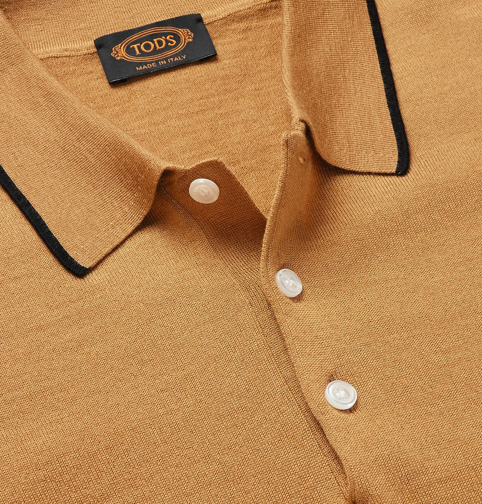Tod's - Contrast-Tipped Knitted Merino Wool and Silk-Blend Polo Shirt - Yellow