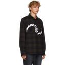 Sacai Brown and Navy Check Wool Embroidered Shirt