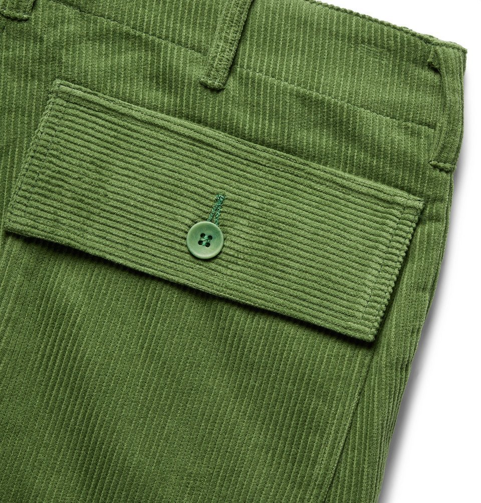 The Elder Statesman - Tapered Cotton-Corduroy Cargo Trousers - Green