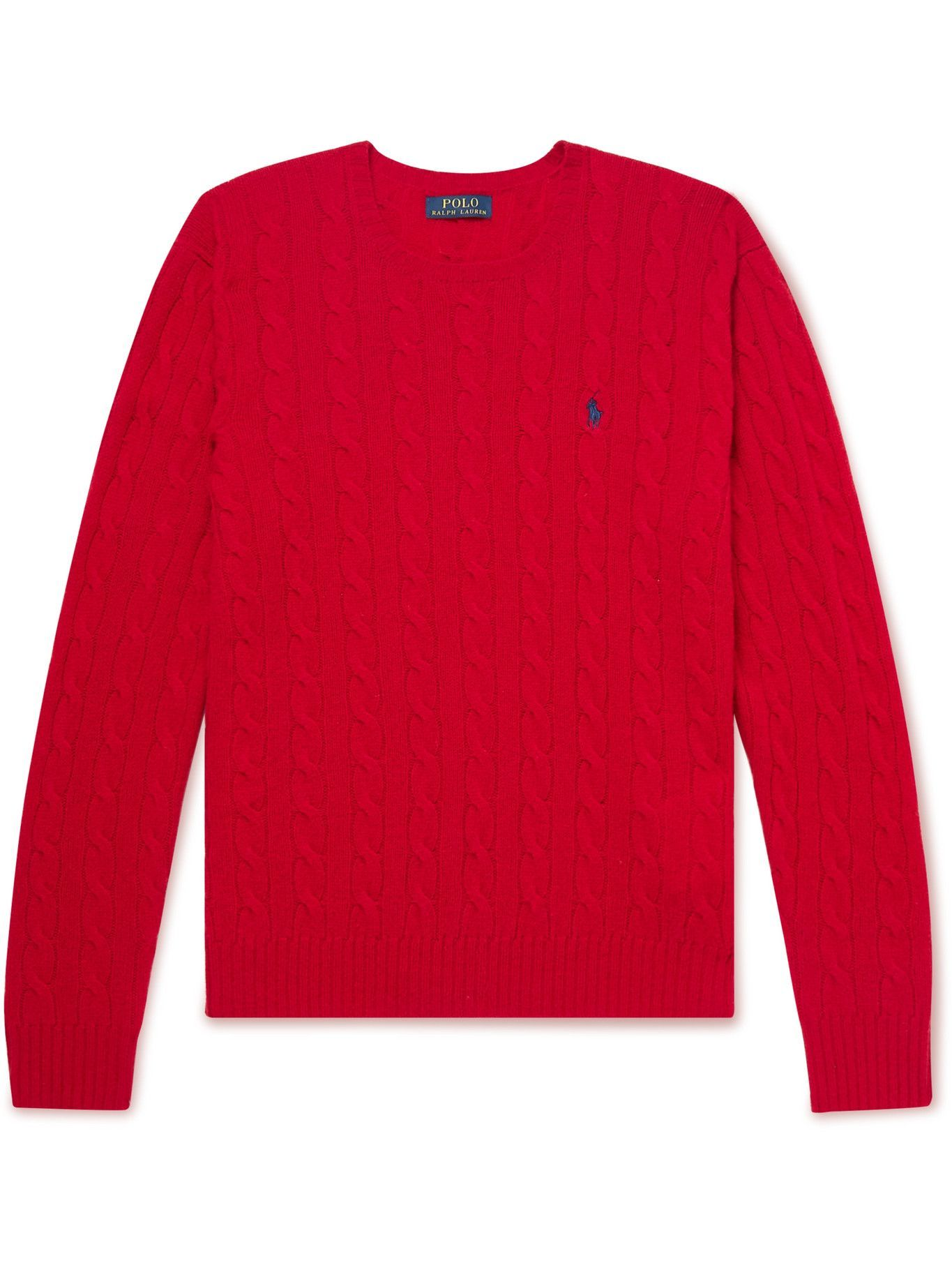 Photo: Polo Ralph Lauren - Cable-Knit Wool and Cashmere-Blend Sweater - Red
