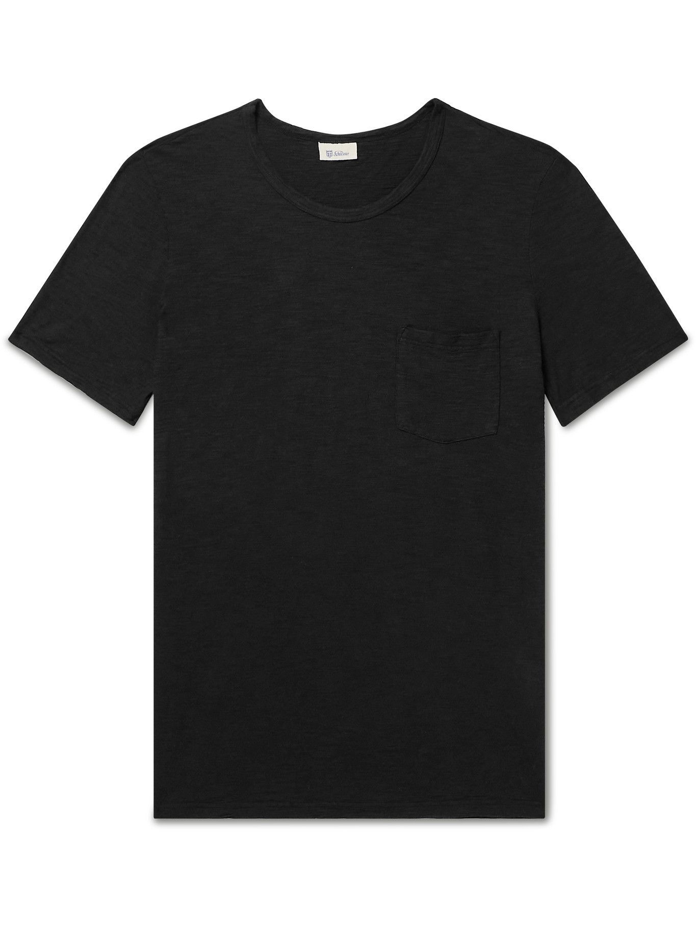 Photo: SCHIESSER - Slub Cotton-Jersey T-Shirt - Black