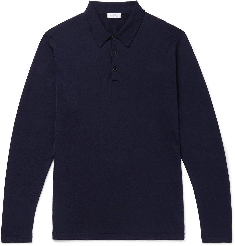 Sunspel - Sea Island Cotton-Jersey Polo Shirt - Men - Navy