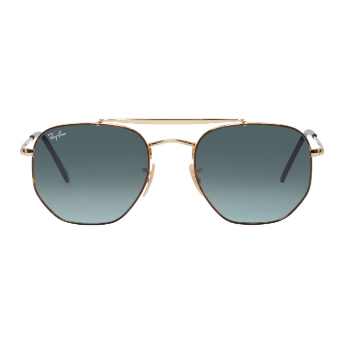 Photo: Ray-Ban Gold and Blue The Marshal Aviator Sunglasses
