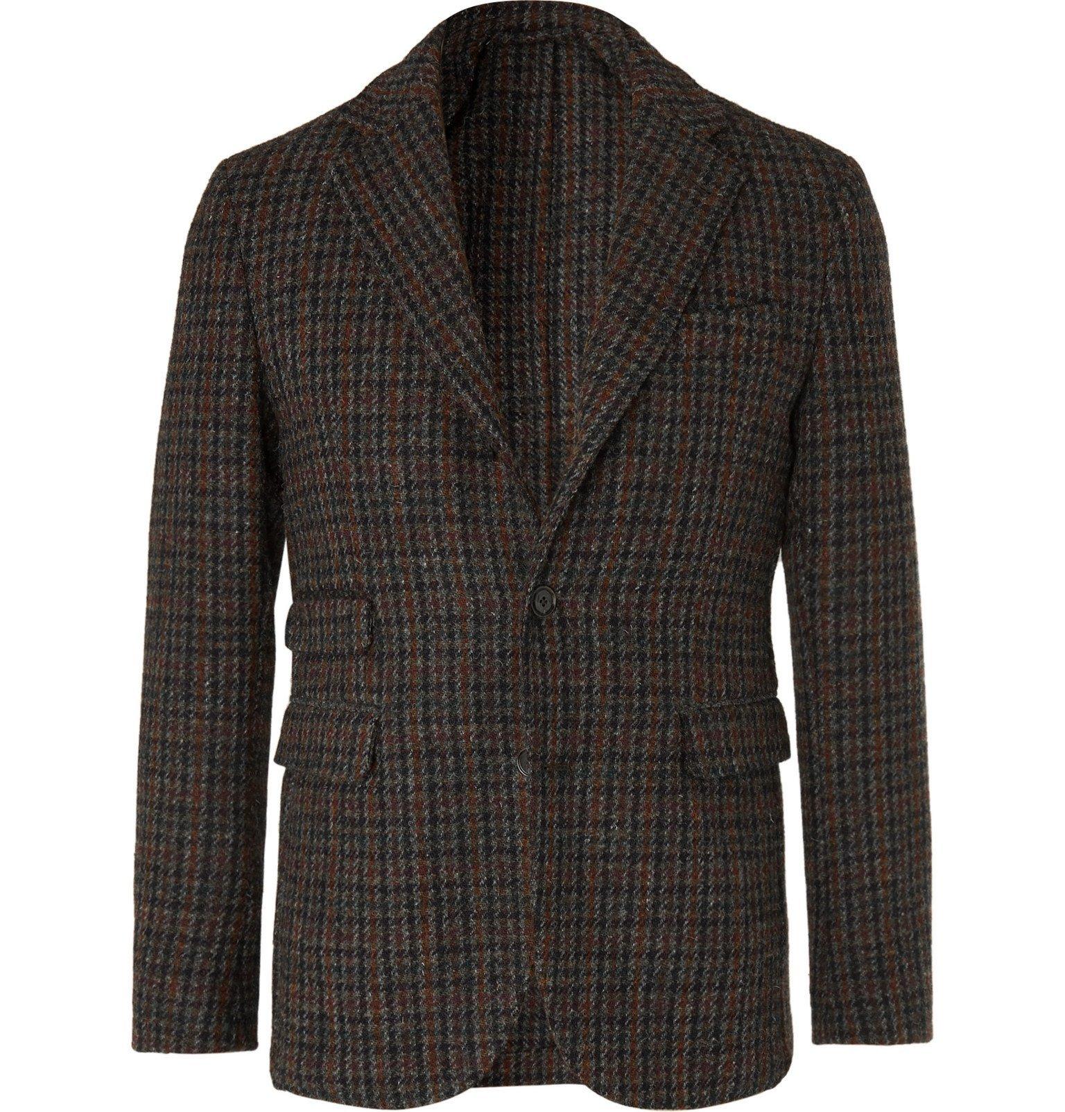 Photo: MAN 1924 - Green Kennedy Slim-Fit Unstructured Checked Wool Blazer - Green