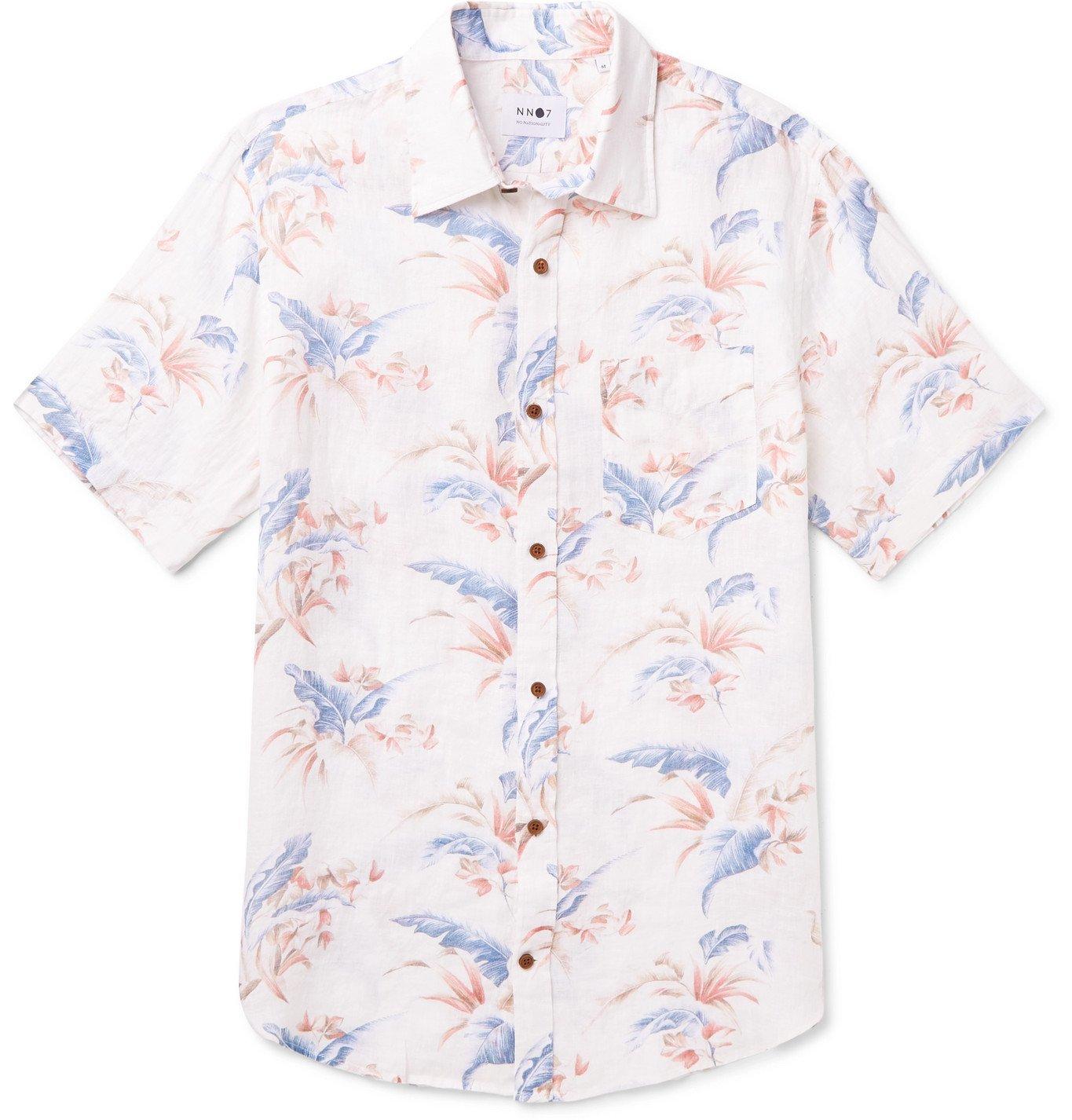 Photo: NN07 - Deon Slim-Fit Floral-Print Linen Shirt - Neutrals