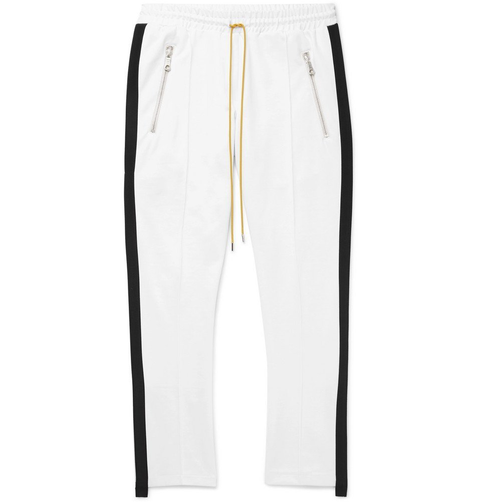 Photo: Rhude - Traxedo Skinny-Fit Grosgrain-Trimmed Stretch-Satin Jersey Sweatpants - Men - White
