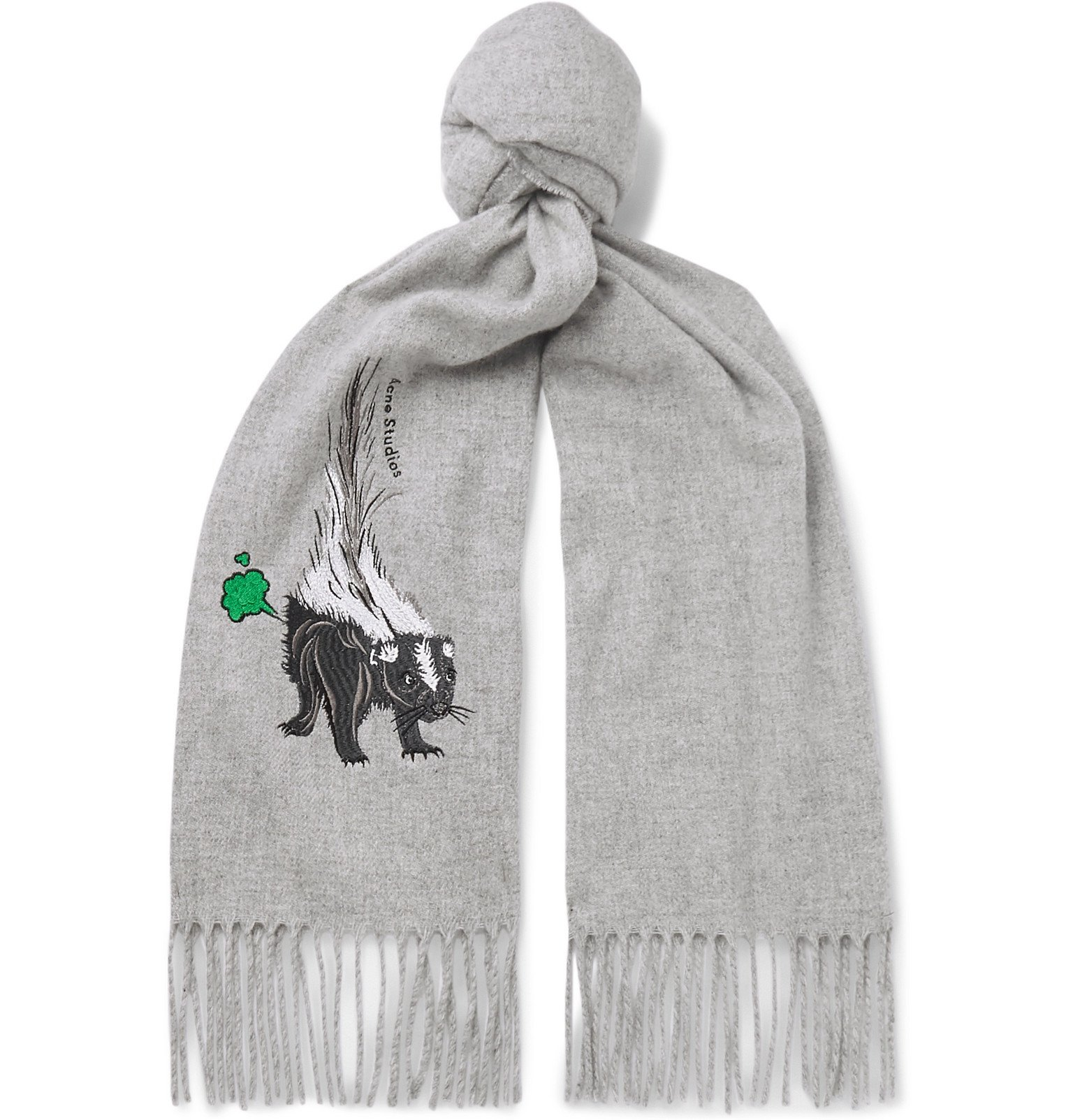 Photo: Acne Studios - Fringed Embroidered Mélange Brushed-Wool Scarf - Gray