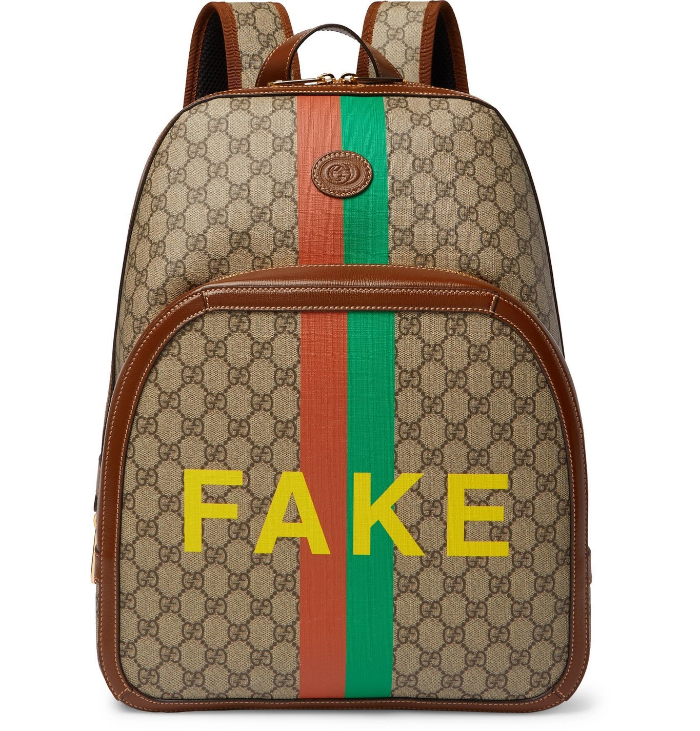 Photo: Gucci - Logo-Appliquéd Leather-Trimmed Printed Monogrammed Coated-Canvas Backpack - Brown