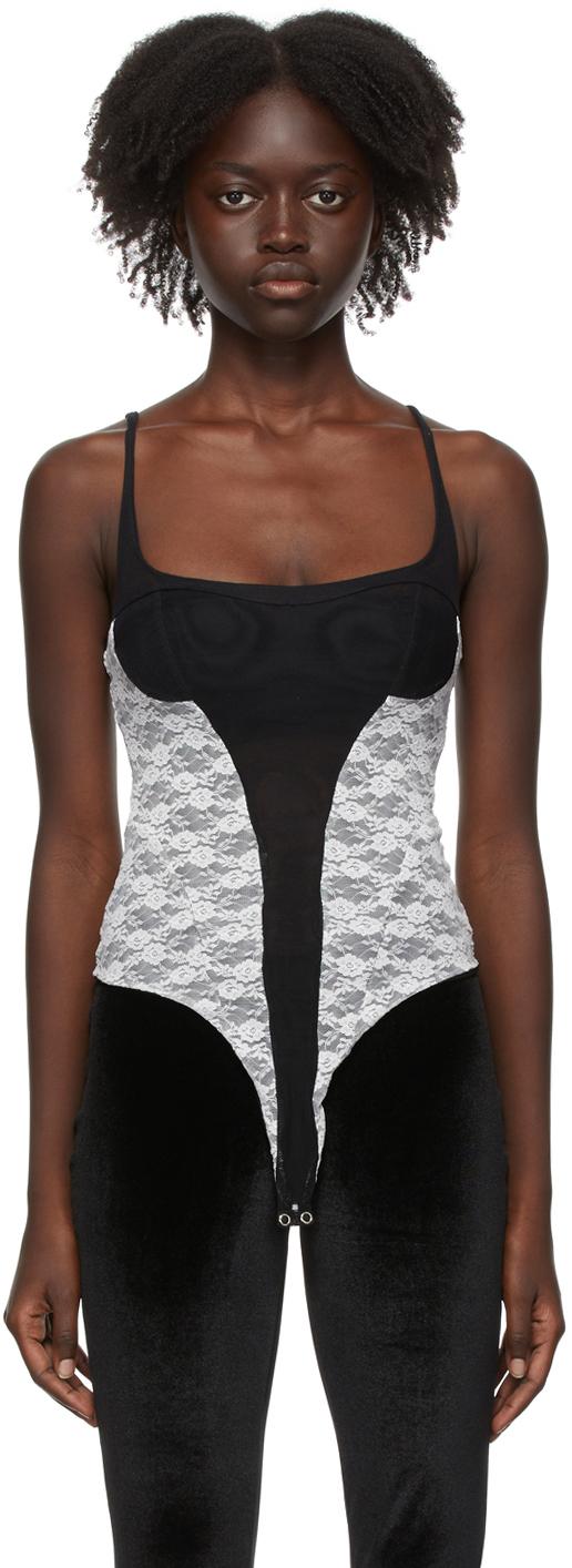 Photo: Kathryn Bowen Black & White Lace Tank Bodysuit