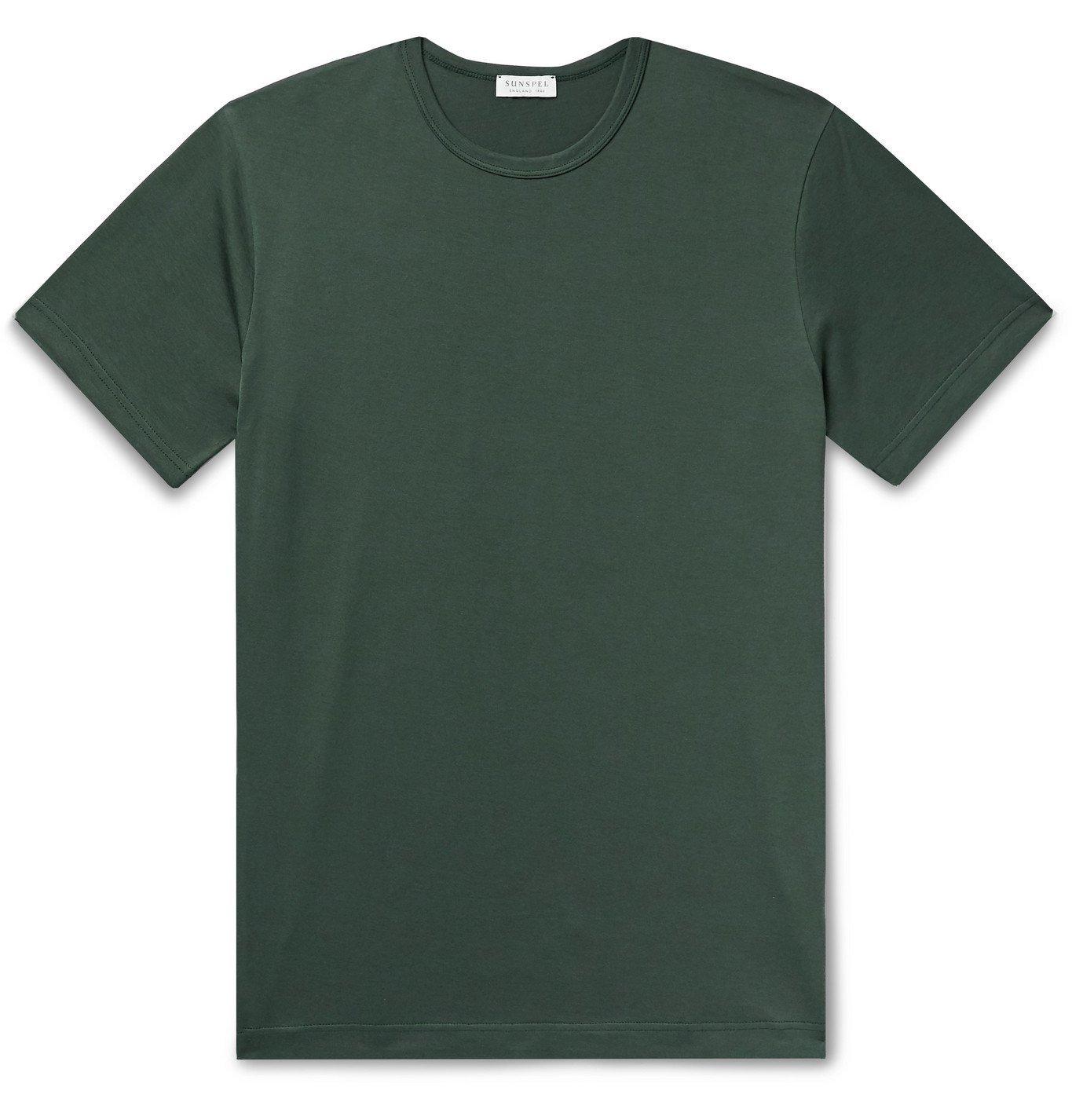Photo: Sunspel - Slim-Fit Cotton-Jersey T-Shirt - Green