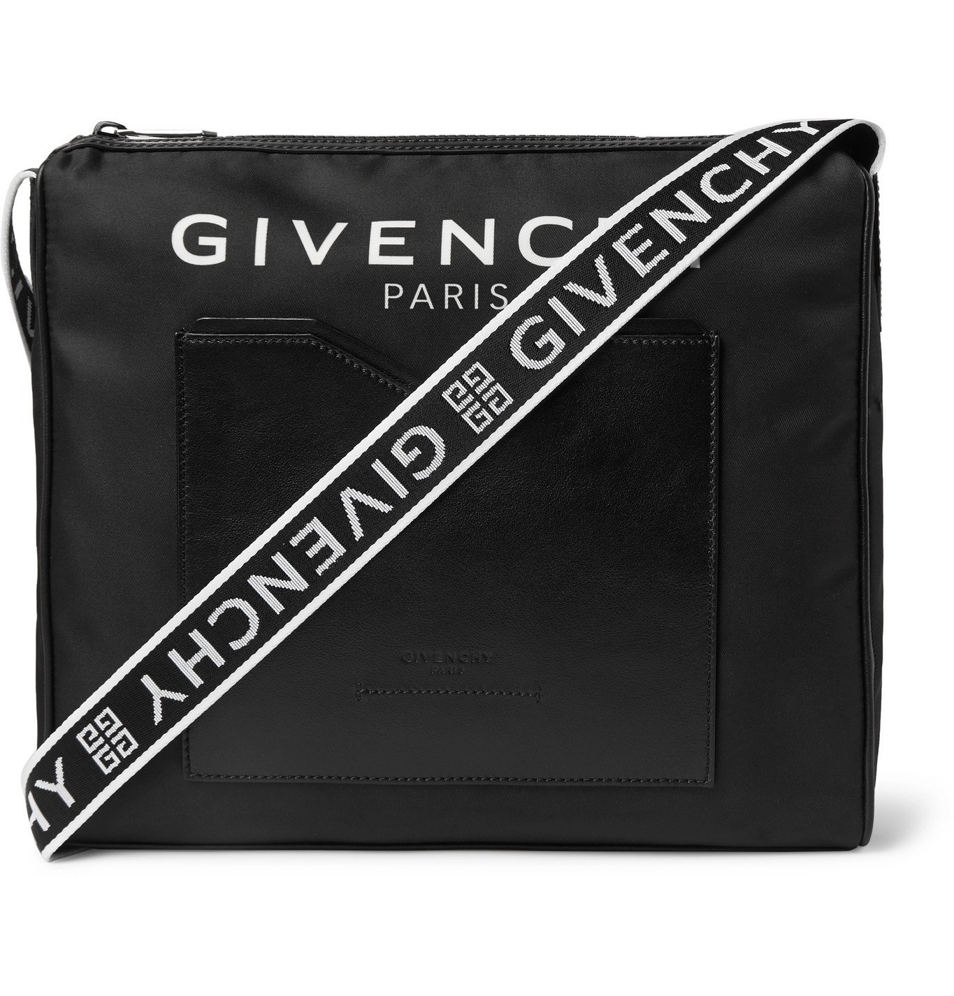 Photo: Givenchy - Logo-Jacquard Leather-Trimmed Shell Messenger Bag - Black