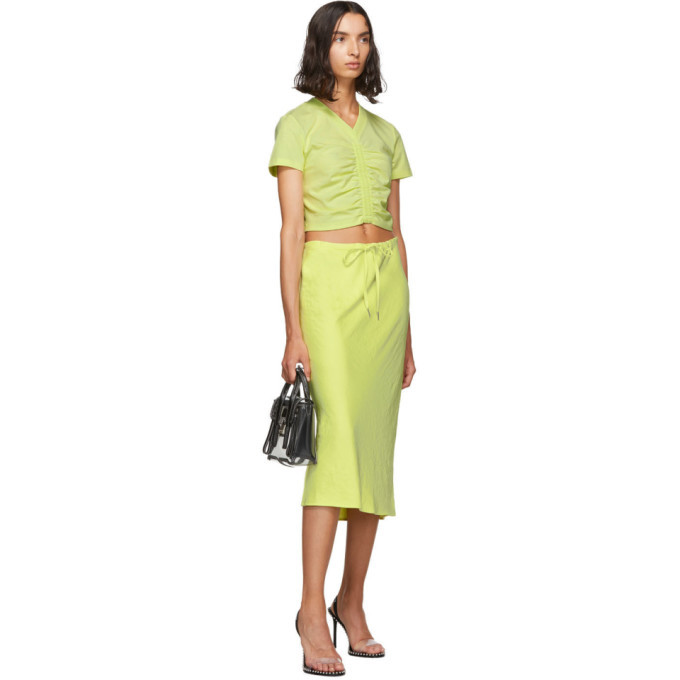 alexanderwang.t Yellow Cropped Ruched T-Shirt