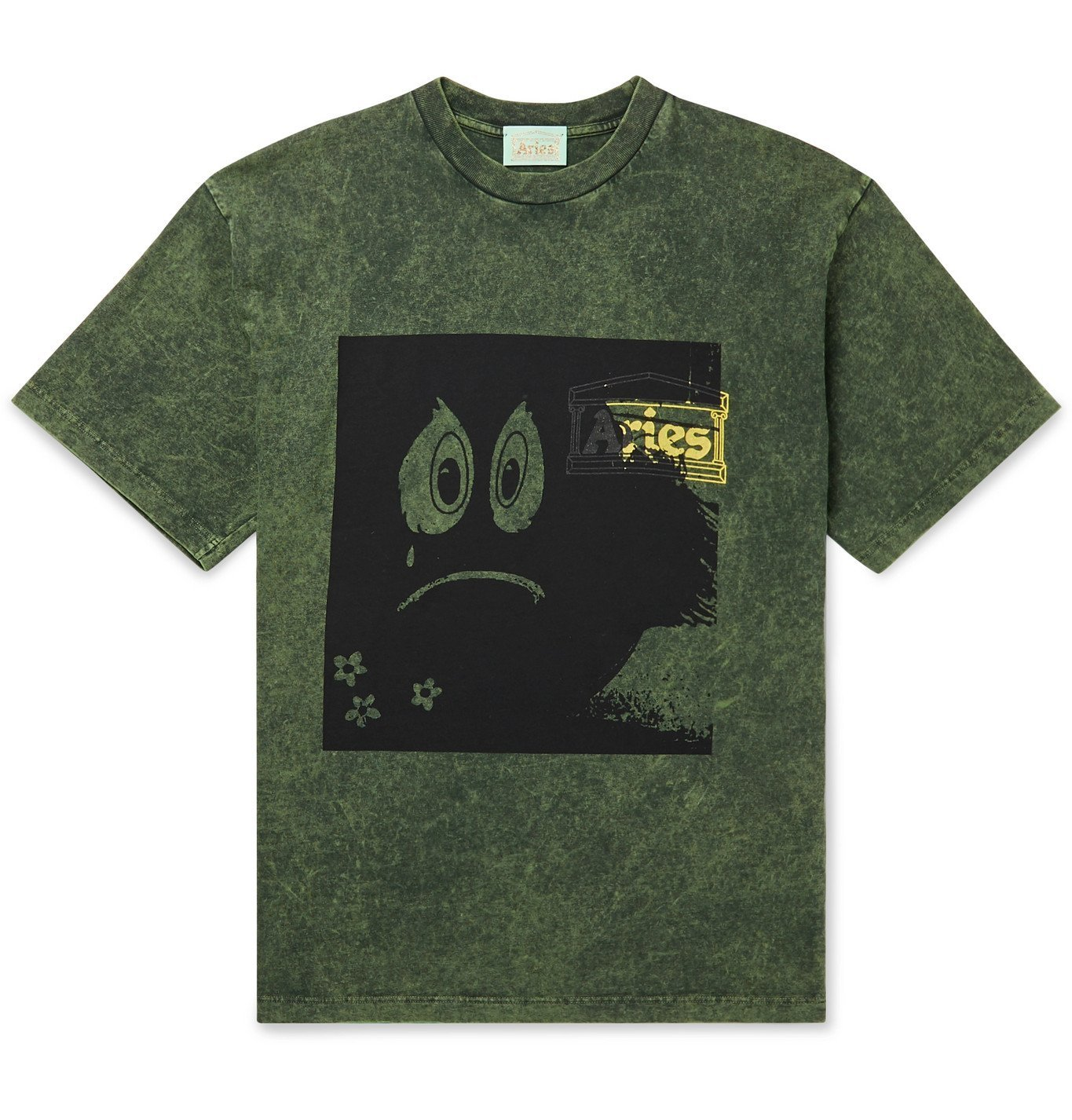 Photo: Aries - Acid-Washed Printed Cotton-Jersey T-Shirt - Green