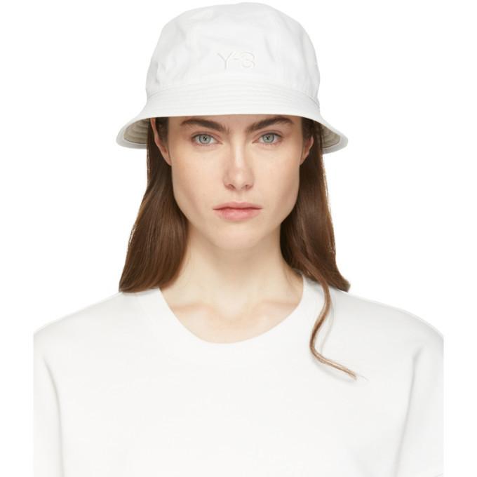 Y-3 Reversible White and Khaki Logo Bucket Hat