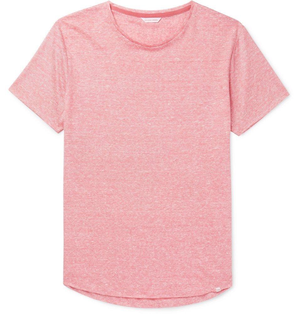 Photo: Orlebar Brown - OB-T Slim-Fit Striped Slub Linen-Jersey T-Shirt - Pink
