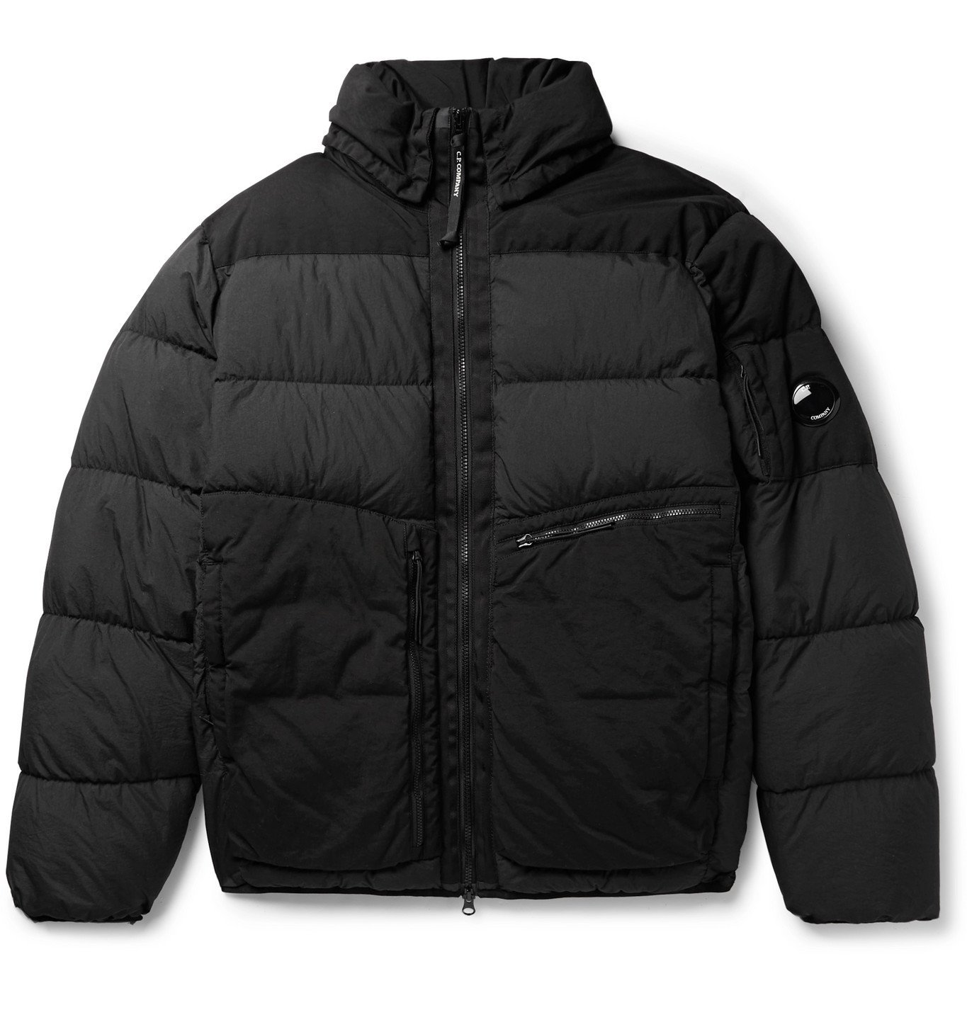 C.P. Company - Appliquéd Garment-Dyed Padded Quilted Nylon Jacket - Black