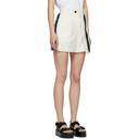 Sacai White Wool Asymmetrical Pinstripe Shorts