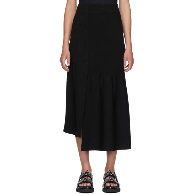 3.1 Phillip Lim Black Ribbed Asymmetric Skirt