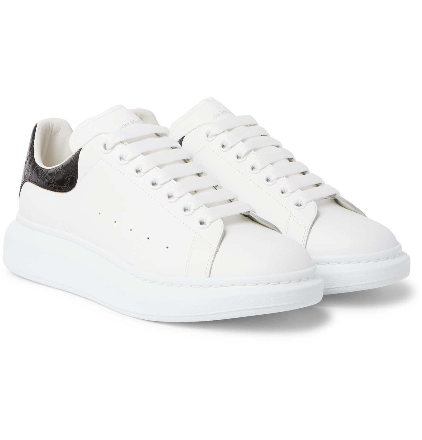Photo: Alexander McQueen - Exaggerated-Sole Croc Effect-Trimmed Leather Sneakers - White