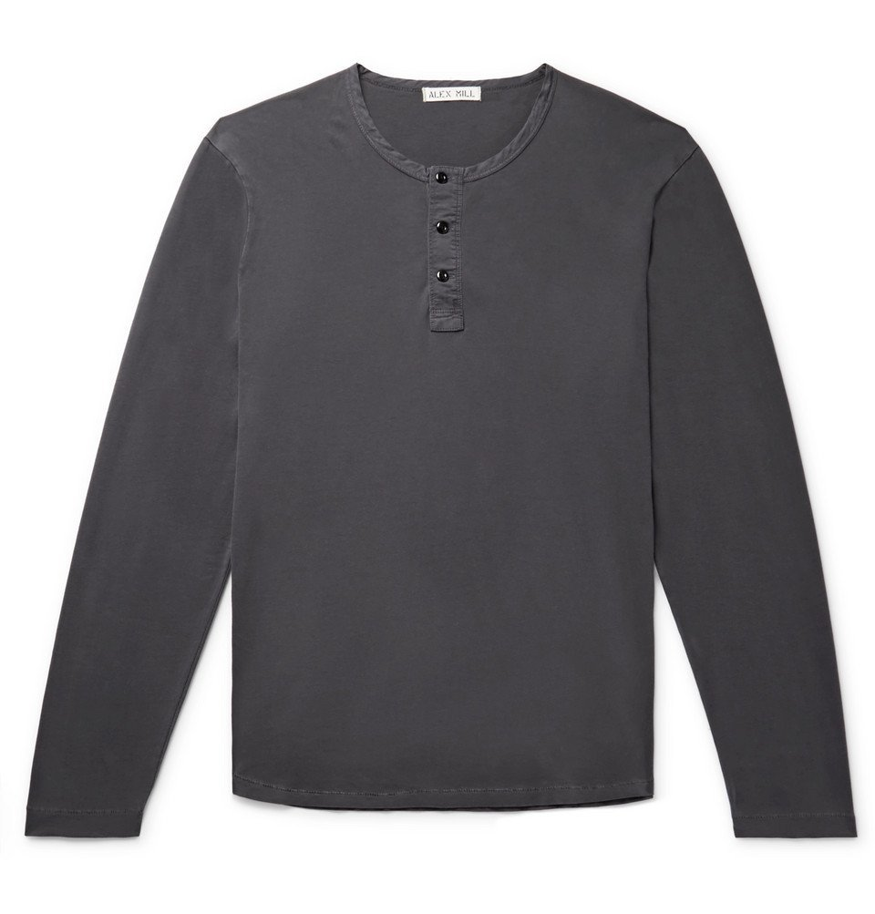 Photo: Alex Mill - Cotton-Jersey Henley T-Shirt - Charcoal