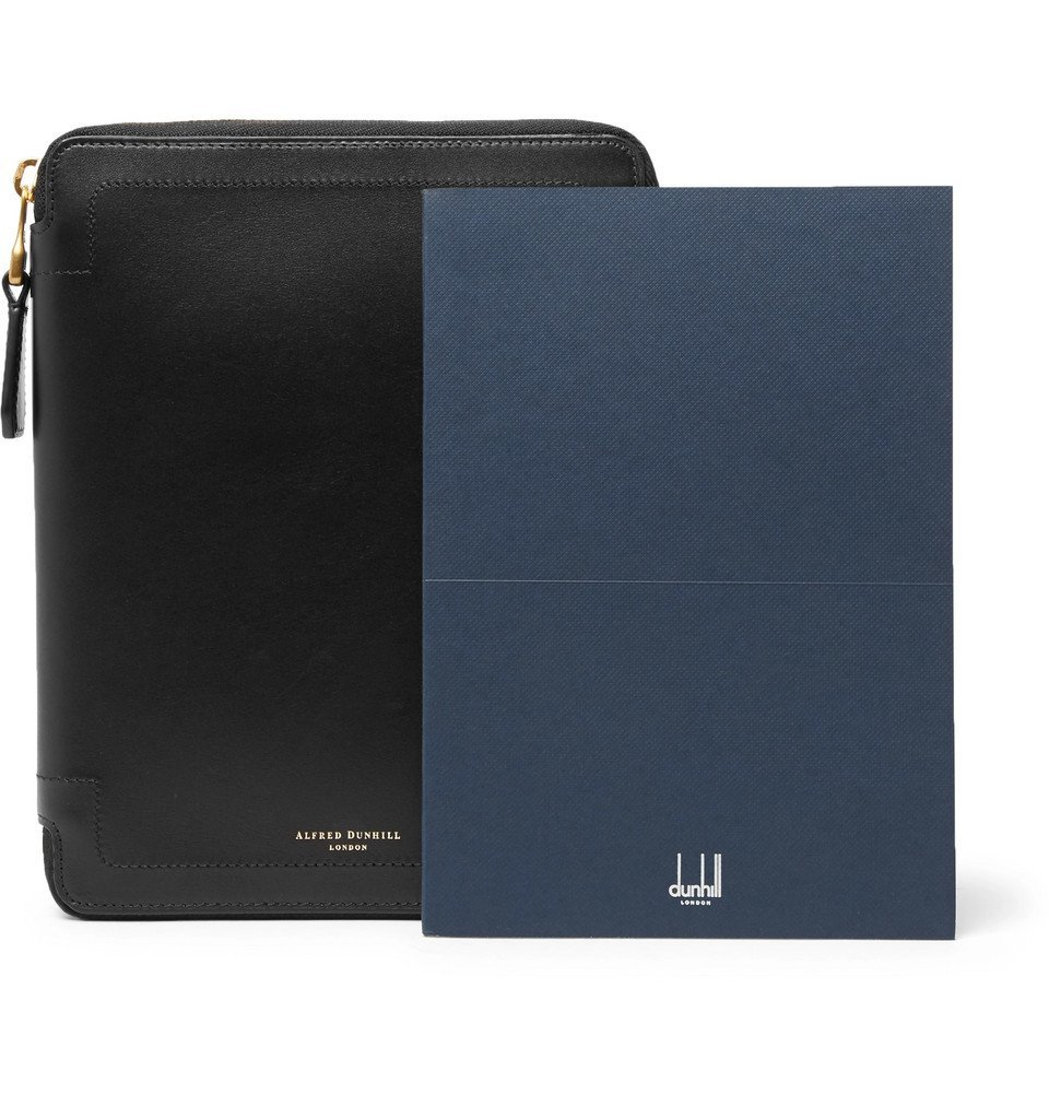 Dunhill - Duke A5 Zip-Around Leather Notebook Cover - Men - Black