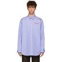 Martine Rose Blue Bonded Stripe Oversize Shirt