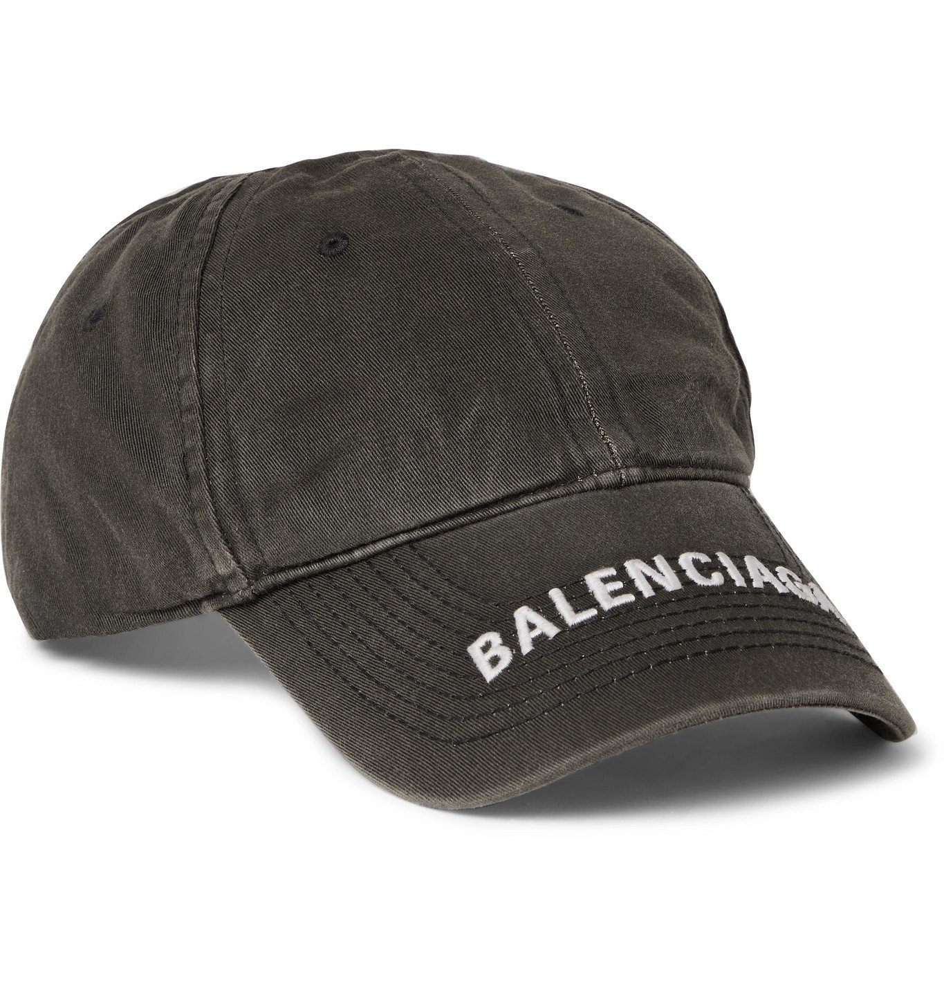 Photo: Balenciaga - Logo-Embroidered Cotton-Twill Baseball Cap - Gray