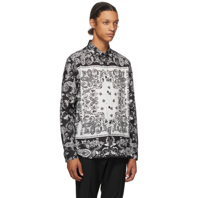 Versace Jeans Couture Black and White Paisley Shirt