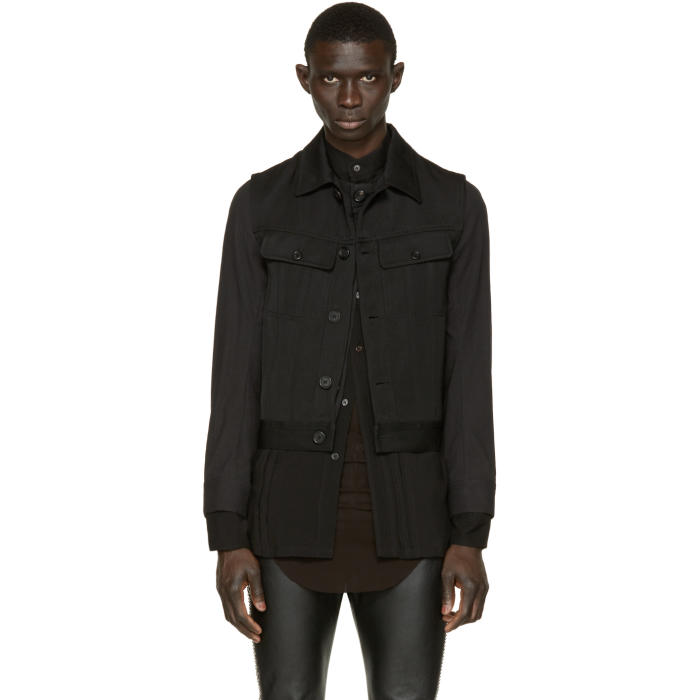 Photo: Ann Demeulemeester Black Layered Biker Jacket
