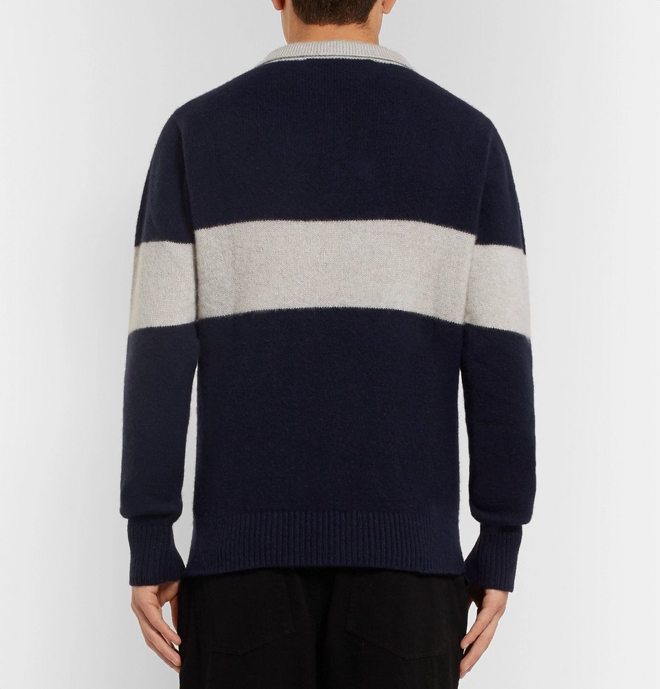 The Elder Statesman - Striped Knitted Cashmere Polo Shirt - Navy